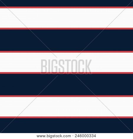 Seamless Vector Stripe Nautical Pattern With Colored Horizontal Parallel Stripes In Red, Navy And Cr