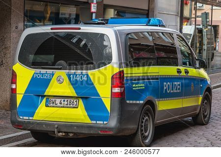 Close Up Of A German Police Car Parked In A Street Of Freiburg Im Breisgau