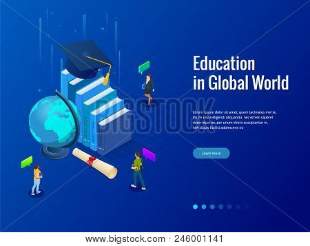 Isometric Education In Global World. Books Step Education. Online Education Concept. Online Training