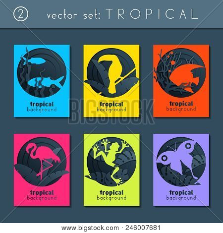 Set Of 6 Minimalistic Papercut Designs With A Tropical Animals Theme. Us Letter Size. Easily Croppab