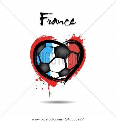 Abstract Soccer Ball Shaped As A Heart Painted In The Colors Of The France Flag. Vector Illustration