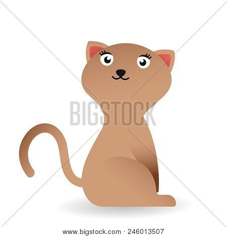 Cute And Funny Sweet Cat Character, Cartoon Isolated On White Background. Cute And Funny Cat Charact