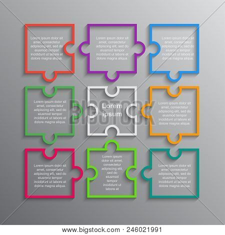 Colorful Puzzle Four Piece Business Presentation. Infographics. Rectangle 9 Steps Process Diagram Ca