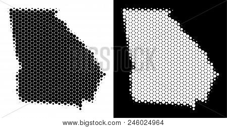 Dot Halftone American State Georgia Map. Vector Geographic Map On White And Black Backgrounds. Abstr