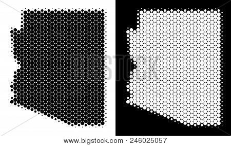 Pixel Halftone Arizona State Map. Vector Geographic Scheme On White And Black Backgrounds. Abstract