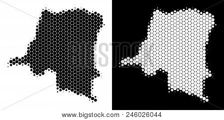 Pixel Halftone Democratic Republic Of The Congo Map. Vector Geographic Scheme On White And Black Bac