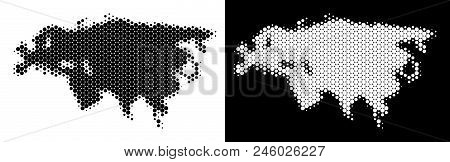 Dotted Halftone Eurasia Map. Vector Geographic Scheme On White And Black Backgrounds. Abstract Conce