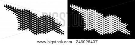 Dot Halftone Georgia Map. Vector Geographic Scheme On White And Black Backgrounds. Abstract Mosaic O