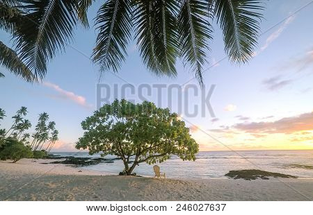 Sunset On Beautiful Empty Tropical Beach With Deckchair And Palm Tree Fronds At Lefaga, Matautu, Upo