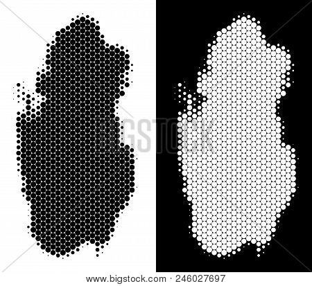 Dotted Halftone Qatar Map. Vector Geographic Scheme On White And Black Backgrounds. Abstract Concept