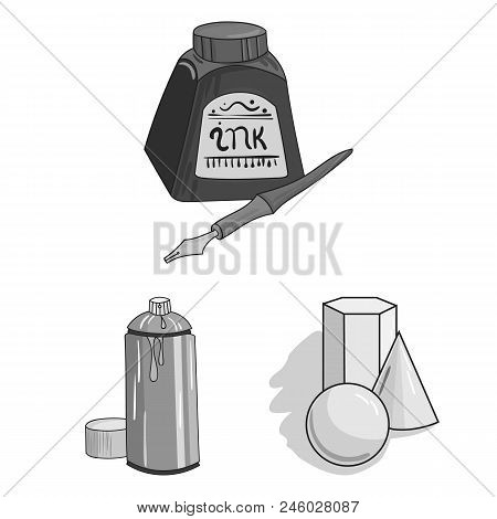 Painter And Drawing Monochrome Icons In Set Collection For Design. Artistic Accessories Vector Symbo