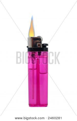 Lit Cigarette Lighter Isolated On White
