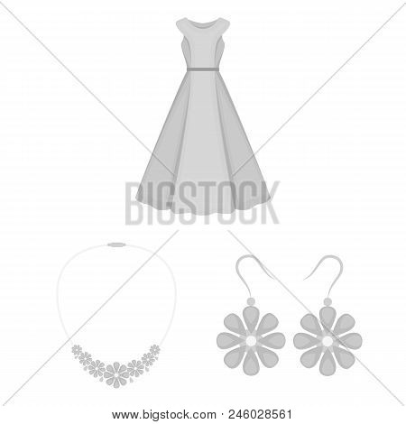 Clothes And Accessories Monochrome Icons In Set Collection For Design. Shoes And Decoration Vector S