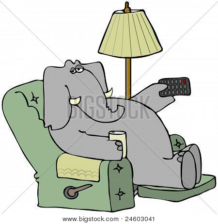 This illustration depicts an elephant sitting in a recliner and pointing a remote control. poster