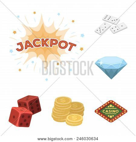 Casino And Gambling Cartoon Icons In Set Collection For Design. Casino And Equipment Vector Symbol S