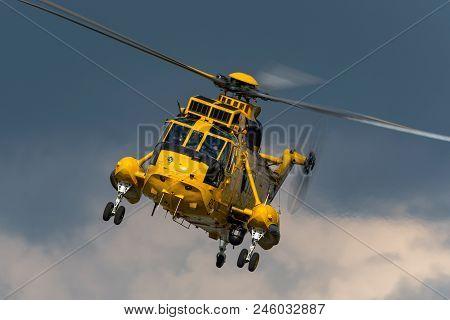 Raf Waddington, Lincolnshire, Uk - July 5, 2014: Royal Air Force Westland Sea King Har3 Search And R