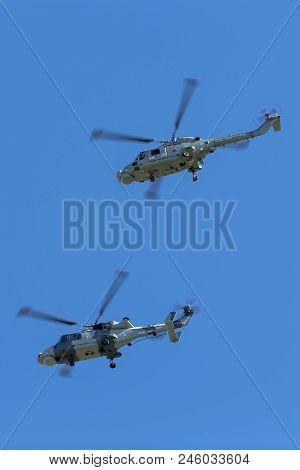 Raf Waddington, Lincolnshire, Uk - July 7, 2014: Royal Navy Fleet Air Arm Westland Lynx Hma.8 Anti S
