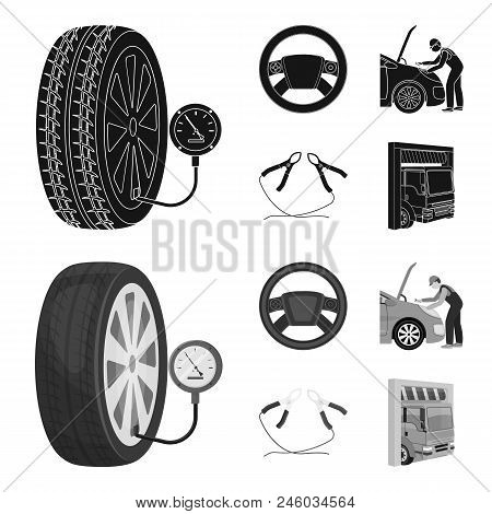 Engine Adjustment, Steering Wheel, Clamp And Wheel Black, Monochrome Icons In Set Collection For Des