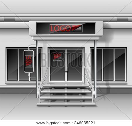 Template For Advertising 3d Store Front Facade. Shop Exterior With Door, Corporate Identity. Blank M