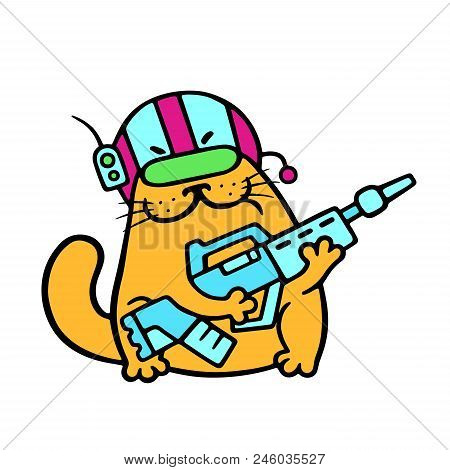 Funny Cat Fantastic Soldier With Impulse Rifle. Science Fiction Military Character. Vector Illustrat