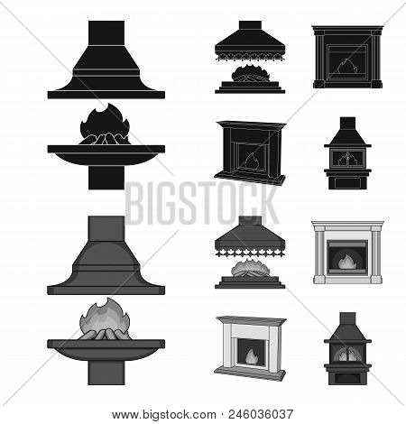 Fire, Warmth And Comfort.fireplace Set Collection Icons In Black, Monochrome Style Vector Symbol Sto