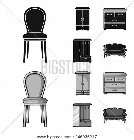 Armchair, Cabinet, Bedside, Table .furniture And Home Interiorset Collection Icons In Black, Monochr