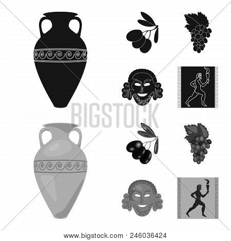 Greece, Olive, Branch, Vase .greece Set Collection Icons In Black, Monochrome Style Vector Symbol St