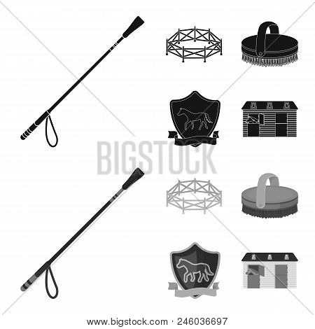 Aviary, Whip, Emblem, Hippodrome .hippodrome And Horse Set Collection Icons In Black, Monochrome Sty