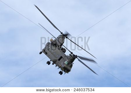 Raf Waddington, Lincolnshire, Uk - July 5, 2014: Royal Air Force (raf) Boeing Chinook Hc.2 Twin Engi