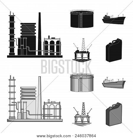 Oil Refinery, Tank, Tanker, Tower. Oil Set Collection Icons In Black, Monochrome Style Vector Symbol
