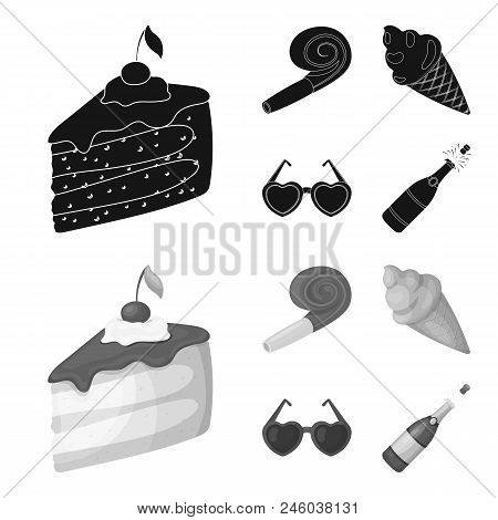 Refreshments And Other Accessories At The Party.party And Partits Set Collection Icons In Black, Mon