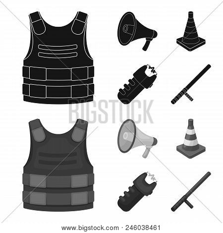 Bulletproof vest, megaphone, cone of fencing, electric shock. Police set collection icons in black, monochrome style vector symbol stock illustration . poster