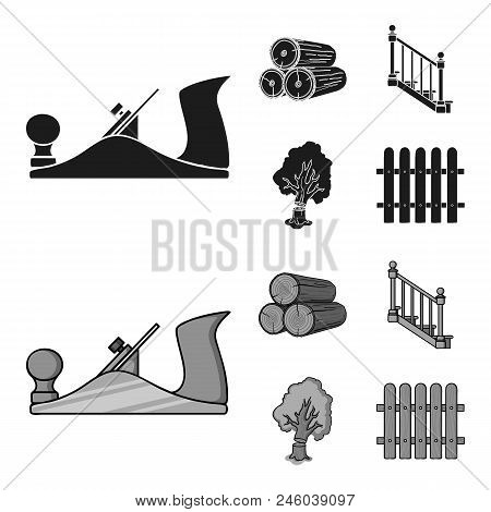 Logs In A Stack, Plane, Tree, Ladder With Handrails. Sawmill And Timber Set Collection Icons In Blac