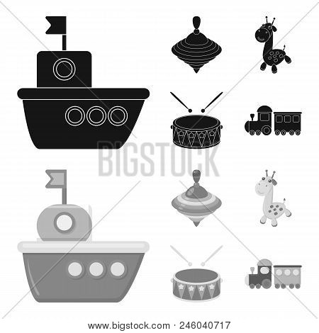 Ship, Yule, Giraffe, Drum.toys Set Collection Icons In Black, Monochrome Style Vector Symbol Stock I