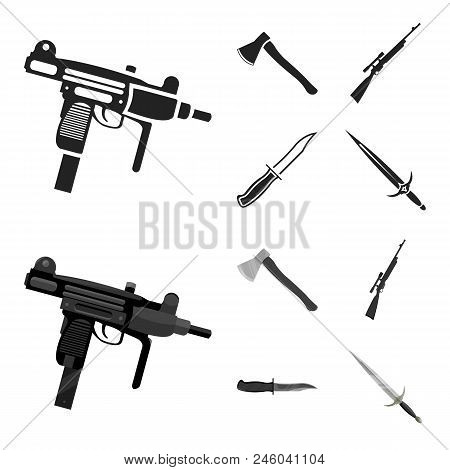Ax, Automatic, Sniper Rifle, Combat Knife. Weapons Set Collection Icons In Black, Monochrome Style V
