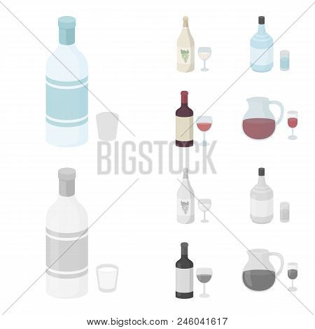 White Wine, Red Wine, Gin, Sangria.alcohol Set Collection Icons In Cartoon, Monochrome Style Vector