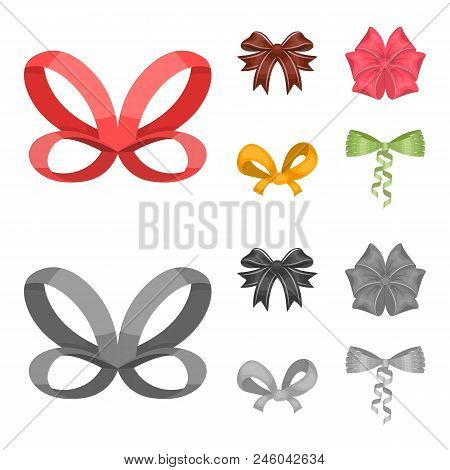 Bow, Ribbon, Decoration, And Other  Icon In Cartoon, Monochrome Style. Gift, Bows, Node Icons In Set