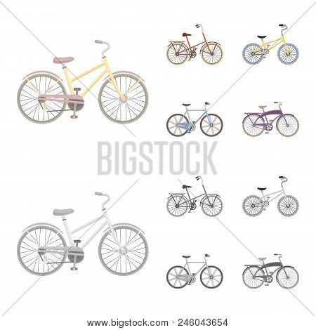 Children Bicycle And Other Kinds.different Bicycles Set Collection Icons In Cartoon, Monochrome Styl