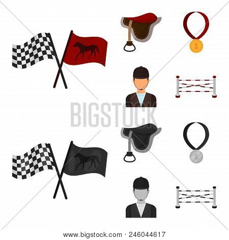 Saddle, Medal, Champion, Winner .hippodrome And Horse Set Collection Icons In Cartoon, Monochrome St