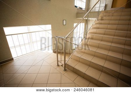Stairs In The Corridor, Indoor Building View At Hall