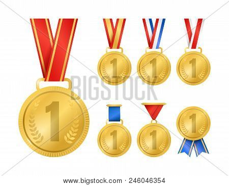 Realistic Detailed 3d Champion Gold Medals Set Symbol Of Winner, Champion And Success. Vector Illust