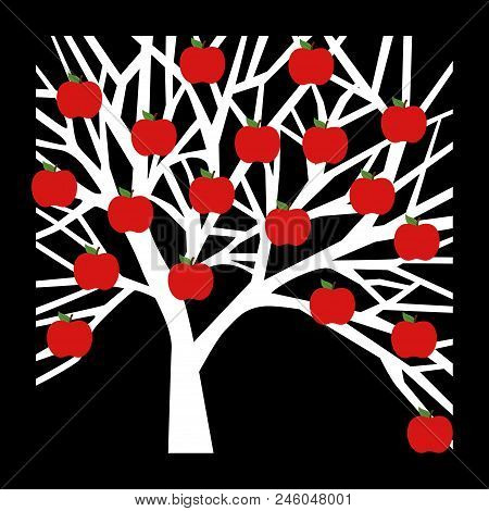 Scalable Vectorial Representing A Tree Apple Icon On Black Background, Element For Design, Illustrat