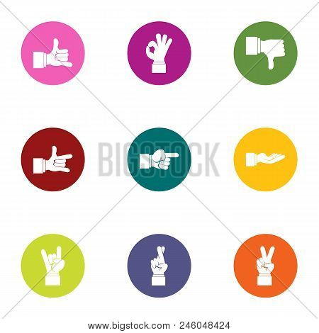 Sign Language Icons Set. Flat Set Of 9 Sign Language Vector Icons For Web Isolated On White Backgrou