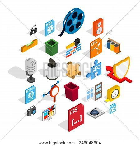 Computer Expansion Icons Set. Isometric Set Of 25 Computer Expansion Vector Icons For Web Isolated O