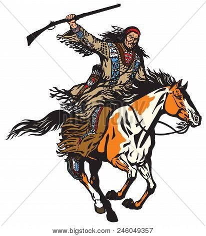 American Native Indian Man Holding A Rifle And Riding A Pinto Colored Pony Horse In The Gallop . Nom