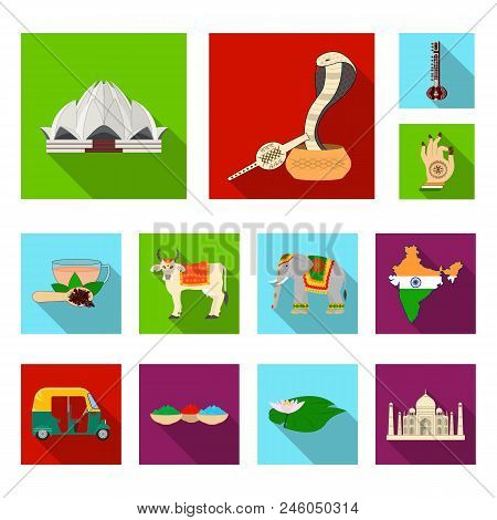 Country India Flat Icons In Set Collection For Design.india And Landmark Vector Symbol Stock Illustr