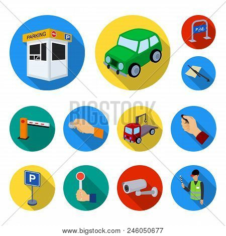 Parking For Cars Flat Icons In Set Collection For Design. Equipment And Service Vector Symbol Stock