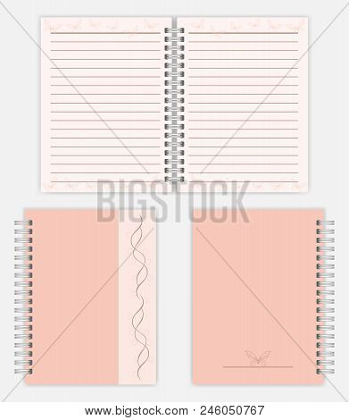 Women Notebook Design: Spread, Front And Back Cover. Spiral Bound Ladies Notepad Mockup. Silver Meta