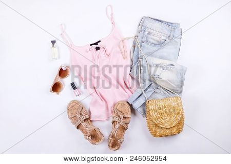 Modern Fashionable Look For Stylish Fashion Blog Lookbook. Flat Lay Of Stylish Clothing For Woman Ma