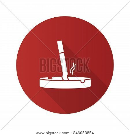 Ashtray With Stubbed Out Cigarette Flat Design Long Shadow Glyph Icon. Stop Smoking. Vector Silhouet